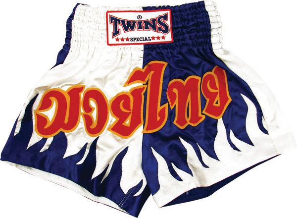 Twins Twins Thai Style Trunks Blue/White W/Flames